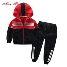 Odzież dla dzieci strój sportowy dla chłopców i dziewczyny z kapturem znosić z długim rękawem Unisex płaszcz spodnie zestaw dres codzienny