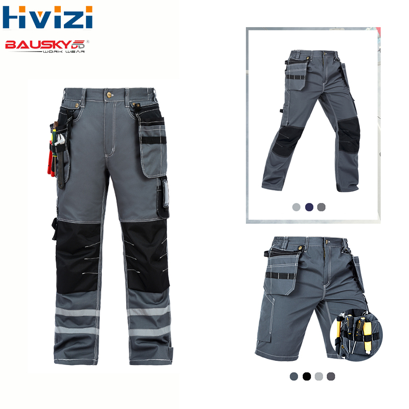 Men's Workwear Work Pants Tool Trousers Overalls Coveralls Safety Clothing Pants Multi-function Pockets Overalls Cargo Clothes
