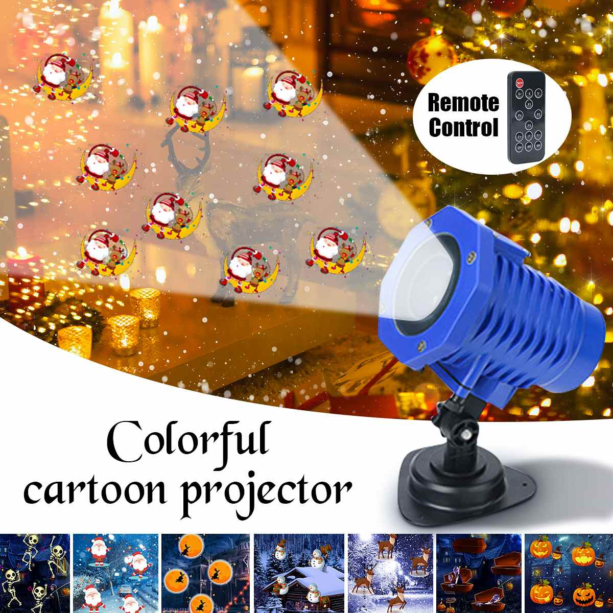 5W / 8 Slides Christmas Halloween Decor LED Animated Snowflake Projector Light Multicolor Snowflake Outdoor Landscape Lamp