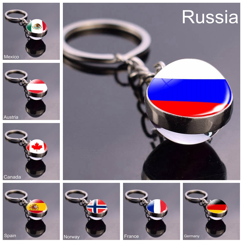 Russian Flag Glass Ball Keychain World Countries Flag Spain Mexico Key Chains National Flag Pendant Travel Souvenir Gift