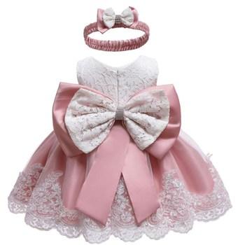 Dziewczynek noworodka sukienka ubrania nowe słodkie Bowknot koronki bez rękawów dziewczyna sukienka urodziny garnitur niemowląt 2 sztuk zestawy odzieżowe dla dzieci tanie i dobre opinie SHENGMEIHAO COTTON Moda O-neck Swetry REGULAR Pasuje prawda na wymiar weź swój normalny rozmiar Suknem Płaszcz W paski