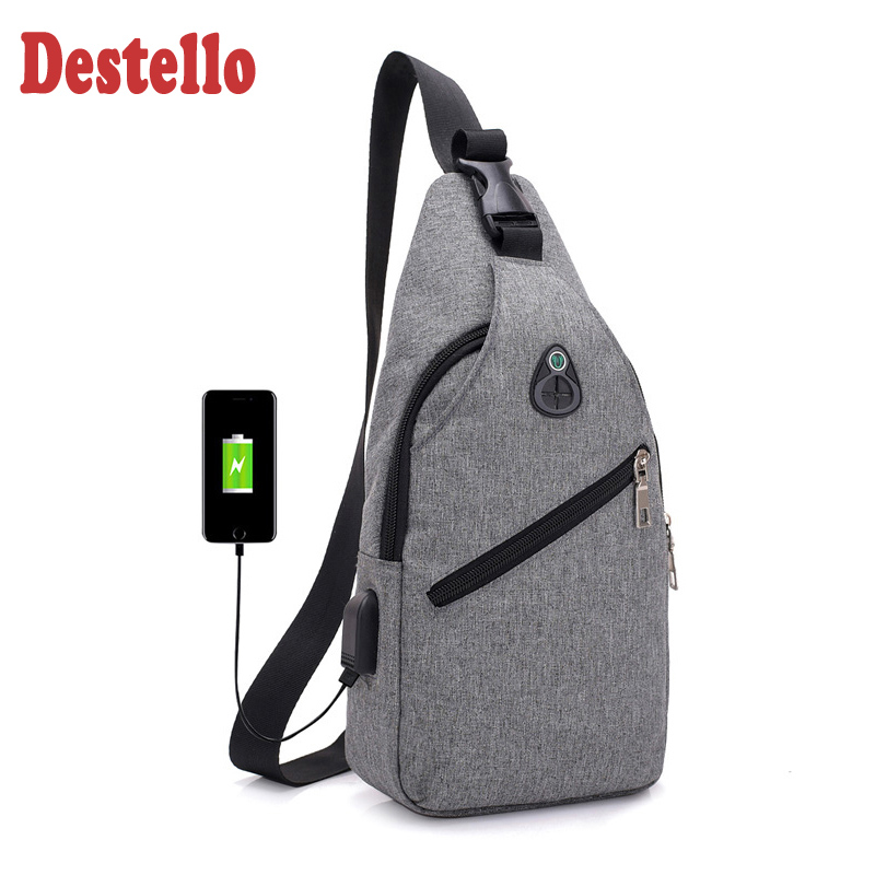 Mens Multifunction Outdoor Sports Casual Leather Chest Bag Crossbody Bag with USB Charging Port Headphone Gym Backpack Sack Satchel
