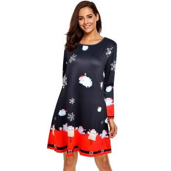 S-5XL Plus Size Christmas Dress Women Long Sleeve O-Neck Print Winter New Year Party Fashion Midi Cartoon Femme Vestidos
