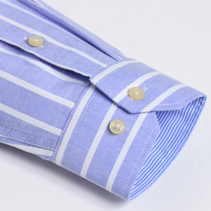 Image 3 - Herren Oxford Langarm Überprüfen Plaid Shirt Patch Brust Tasche Regelmäßige fit Checkered/Striped Printed Casual Taste unten Shirts