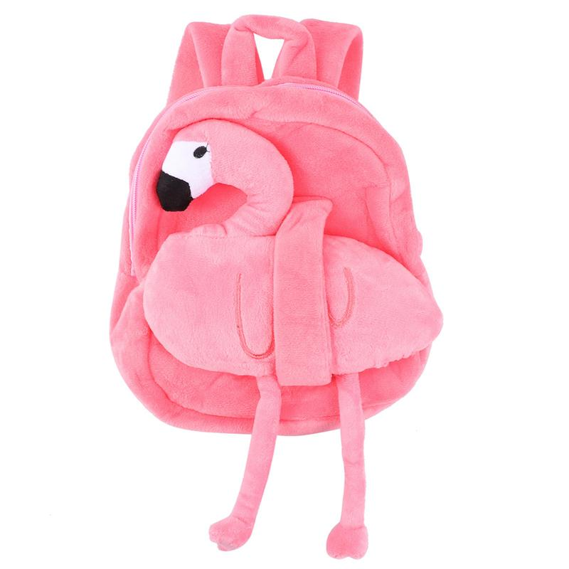 Flamingo Backpack Creative Plush Backpack Portable Travel Bag Casual Storage Bag For Girls Kids (Watermelon Red)