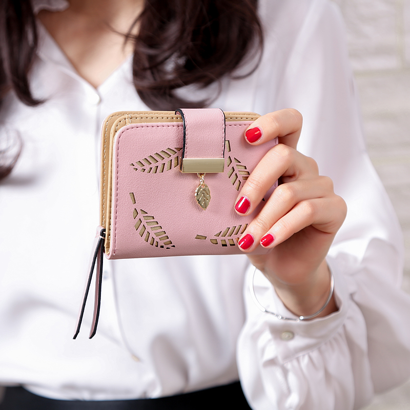 Женский кошелек, модный кошелек, женские короткие кошельки, полый кошелек, Сумочка для женщин, монета из искусственной кожи, кошельки, держатель для карт Carteira - Цвет: Pink