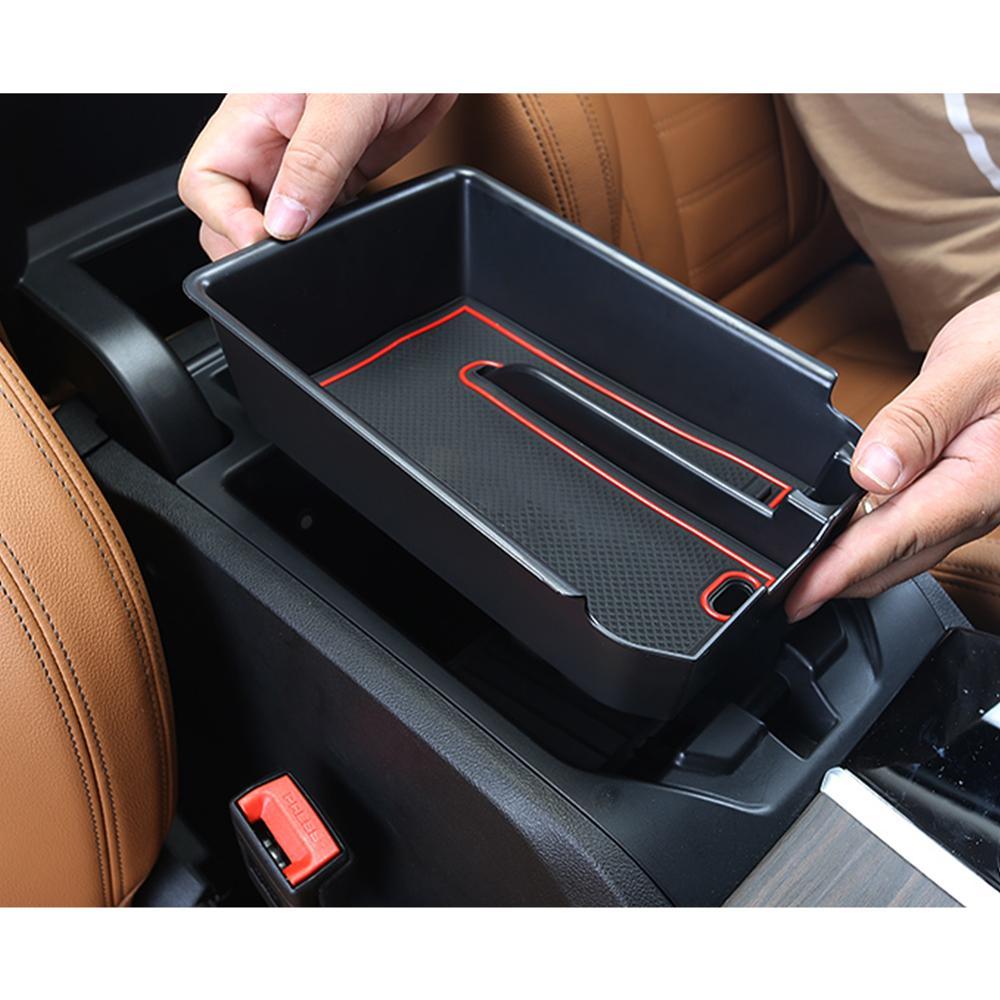 Con Tapete Antideslizante Accesorios Interiores del coche CDEFG para V W Polo 2018-2020 Caja de almacenamiento Consola Central Apoyabrazos Caja del coche Interior Center Armrest Storage Box