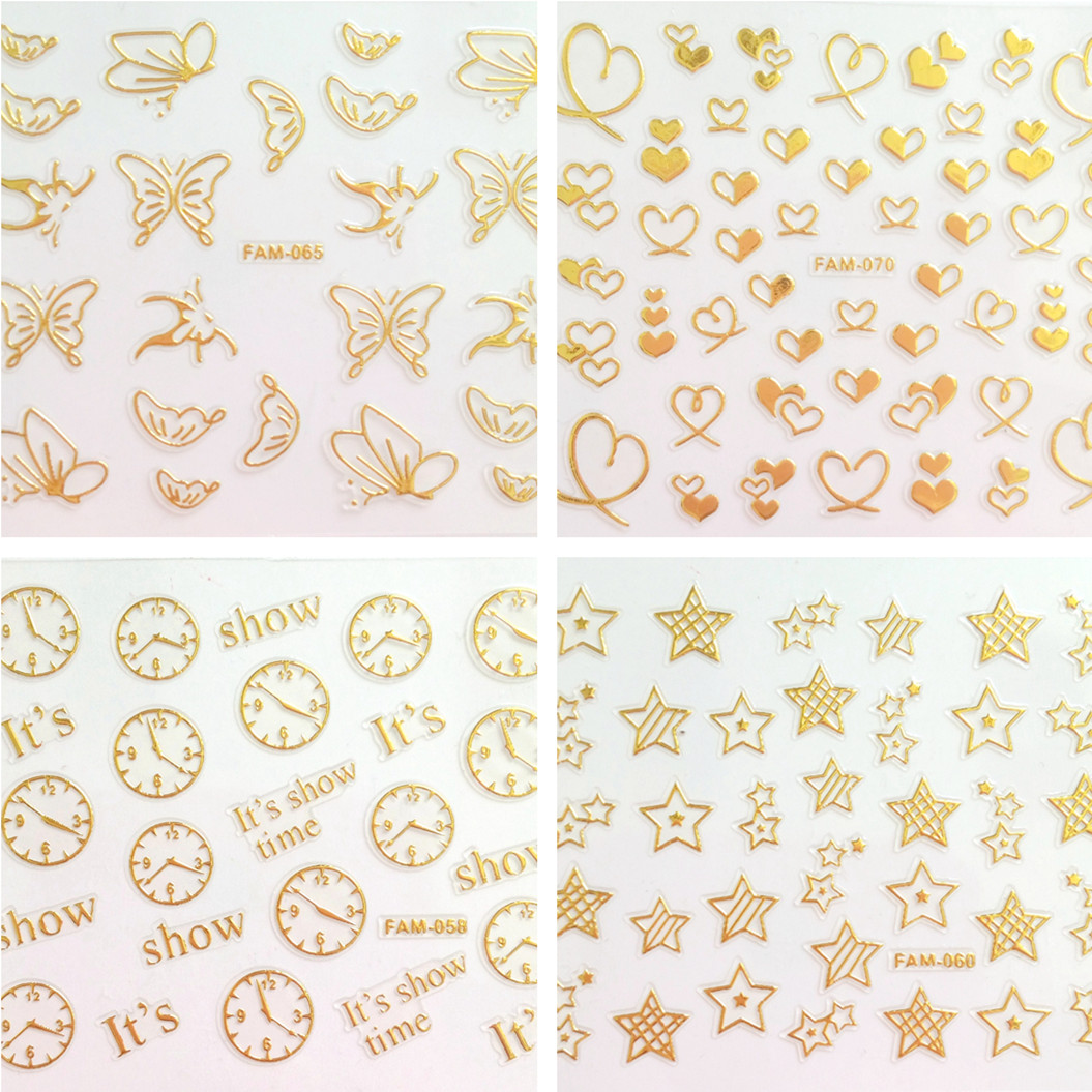 6Pcs/set Stick On Nails Gold Nail Stickers Butterfly Star Love DIY Nail Art Decals For Design Manicure Tips