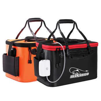 Sac de seau de pêche Portable EVA seau de pêche pliable boîte de poisson en direct Camping seau d'eau sac de rangement de matériel de pêche en plein air