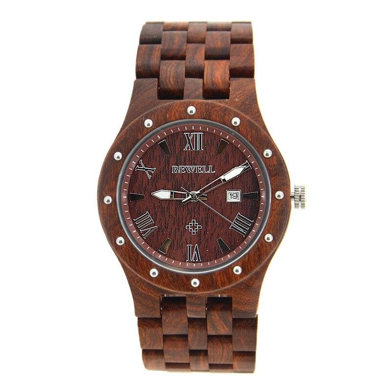 BEWELL marque fabricant droit pour 109 un homme 5 perles avec japon mouvement montre en bois montre à quartz