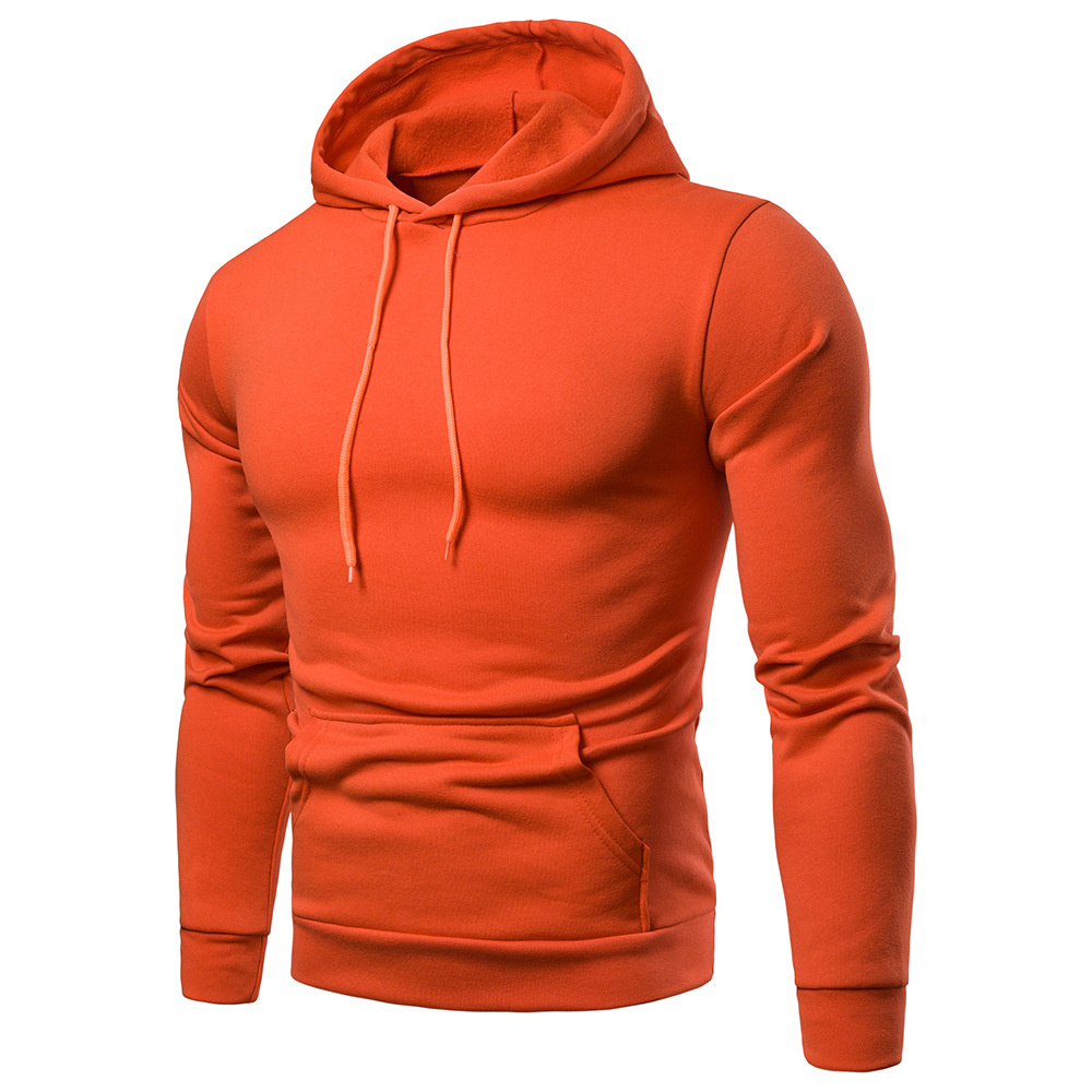 AliExpress Plus-sized Menswear Hoodie Solid Color Casual Hooded Pullover Coat MEN'S Sports Jacket