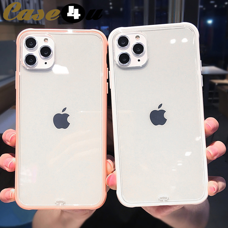 Shockproof Bumper Transparent Silicone Phone Case for iPhone 11 Pro X XR XS Max 8 7 6 6s Plus 8Plus 7Plus Soft Rubber Cover Logo(China)