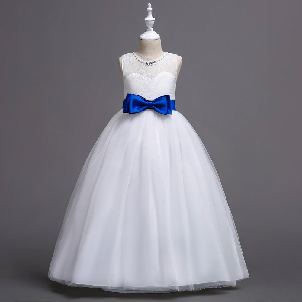 White Lace Flowe Girl Dresses Girls Dress for Wedding  Elegant with Bows Floor Length Beading Neck Sleeveless