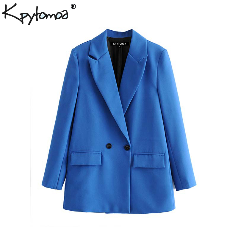 Vintage Stylish Office Lady Double Breasted Blazer Coat Women 2020 Fashion Notched Collar Long Sleeve Outerwear Chic Tops