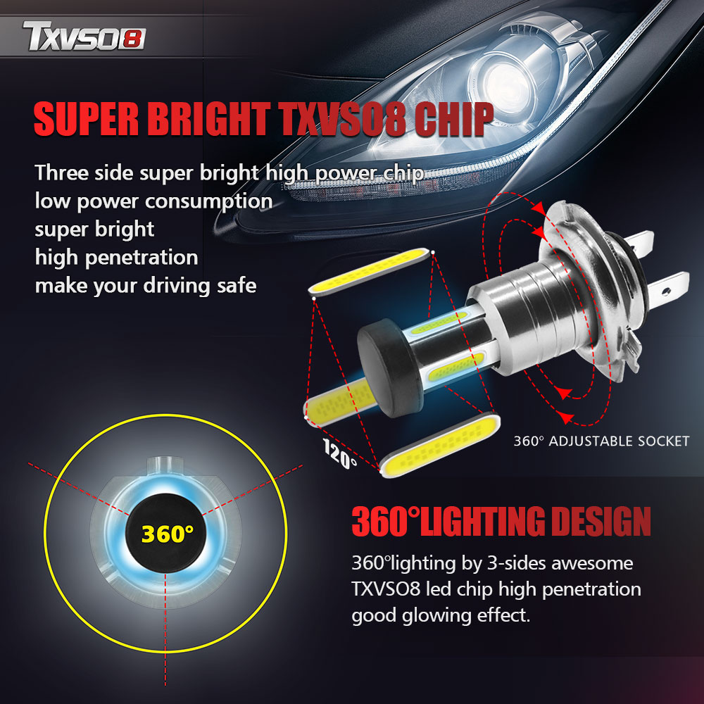 2pcs Car H7 LED Headlight Bulbs 12V 24V 110W 30000LM Headlight Conversion Kit Bulb High/Low Beam 6000K