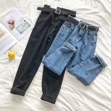 Calças de brim de cintura alta coreano mulheres sólida cinto harem calças soltas casuais plus size high street denim pantalon femme com cinto