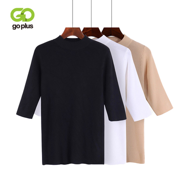 GOPLUS 2020 Fashion Spring Winter Knitted Sweater Women Slim O Neck Half sleeve Pullovers befree Casual Sweater Female Sweaters топ befree befree be031ewadnd6