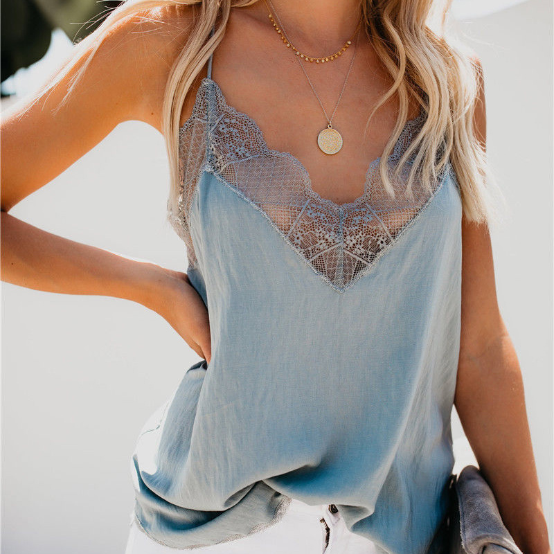 New Women's <font><b>Sexy</b></font> Lace V-neck Sling Sleeveless Halter Summer Loose Vest Cropped Feminino image