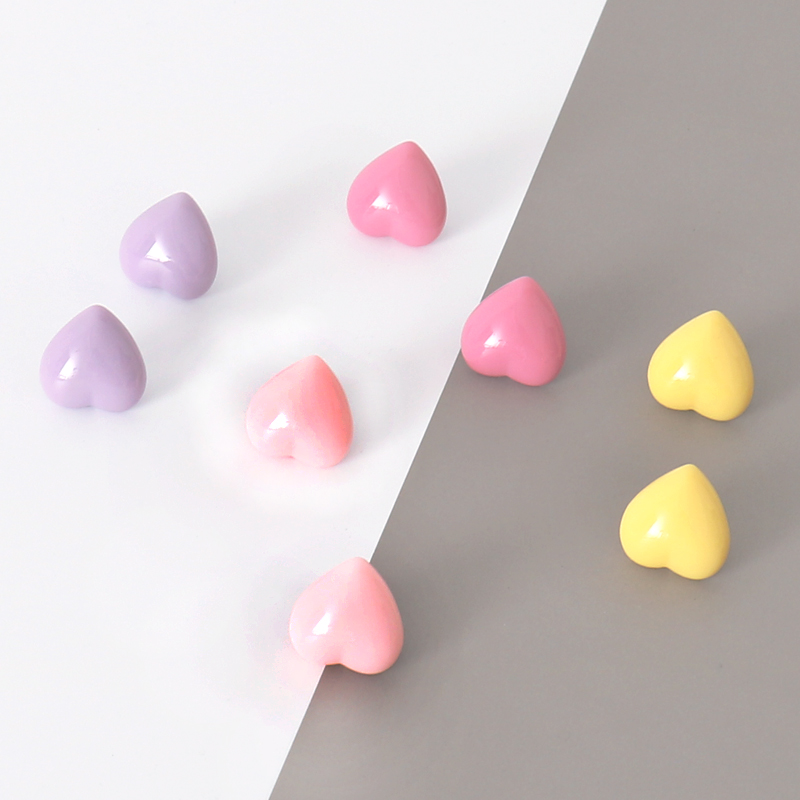 TUTU High Quality 8pcs/box Coloful Heart Shape Plastic Quality Macaron Colored Push Pins Thumbtacks Office School H0417