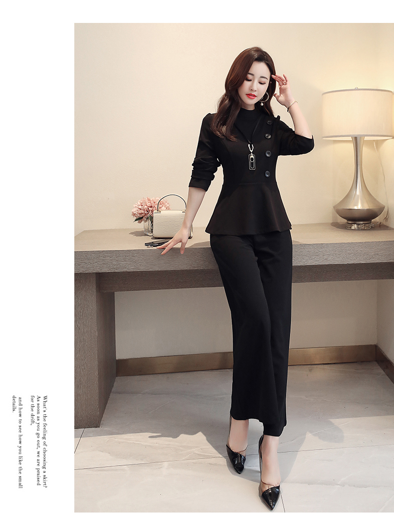 Black Grey Office Two Piece Sets Outfits Women Plus Size Buttons Tops And Wide Leg Pants Suits Elegant Fashion Ladies Suits 2019 47