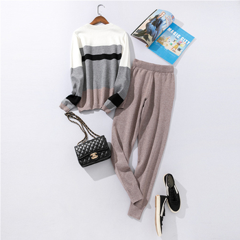 Autumn and winter fashion casual women's knit sweater pants suit knit sportswear color strip stitching wool knit suit 3