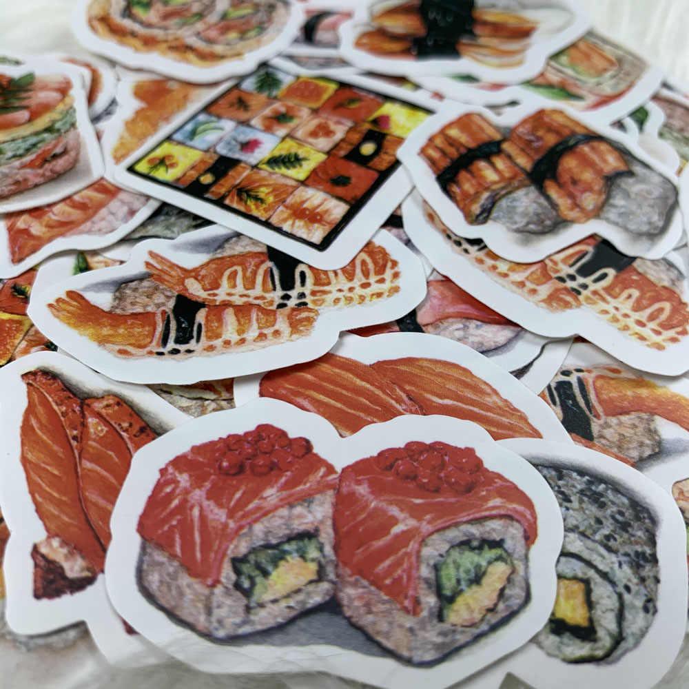 17 قطعة/الحزمة النمط الياباني جميل الغذاء لذيذ Kawaii السوشي ملصق مزخرفة لتقوم بها بنفسك سكرابوكينغ ألبوم يوميات ملصق Escolar