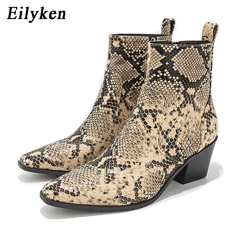 Eilyken 2019 New Winter Woman Boots Snake Print Round Toe Boots Fashion Party Boots Riding Equestrian Boots Plus Size 36 43