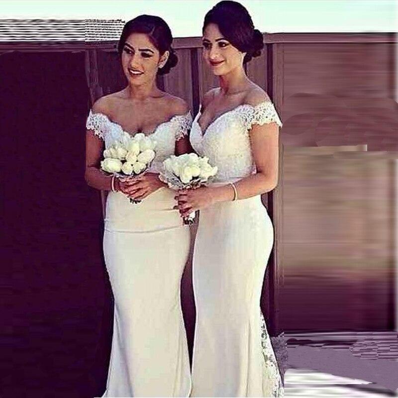 2014 Vestido De Festa V-neck Mermaid Ivory Bridesmaid Dresses Floor Length Custom Made Long Party Gowns Cheap Dresses LR1426 New
