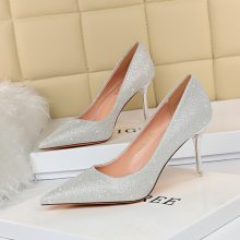 BIGTREE 2020 Autumn Fashion Women 7.5cm High Heels Pumps Lady Glitter Sexy Wedding Bridal Low Heels Party Valentine Silver Shoes(China)