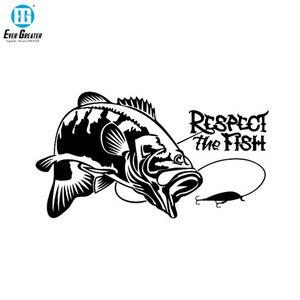 Image 1 - Szanuj ryby łódź rybacka polowanie Vinyl samochodów naklejka winylowa tablica naścienna naklejki samochodowe naklejki akcesoria