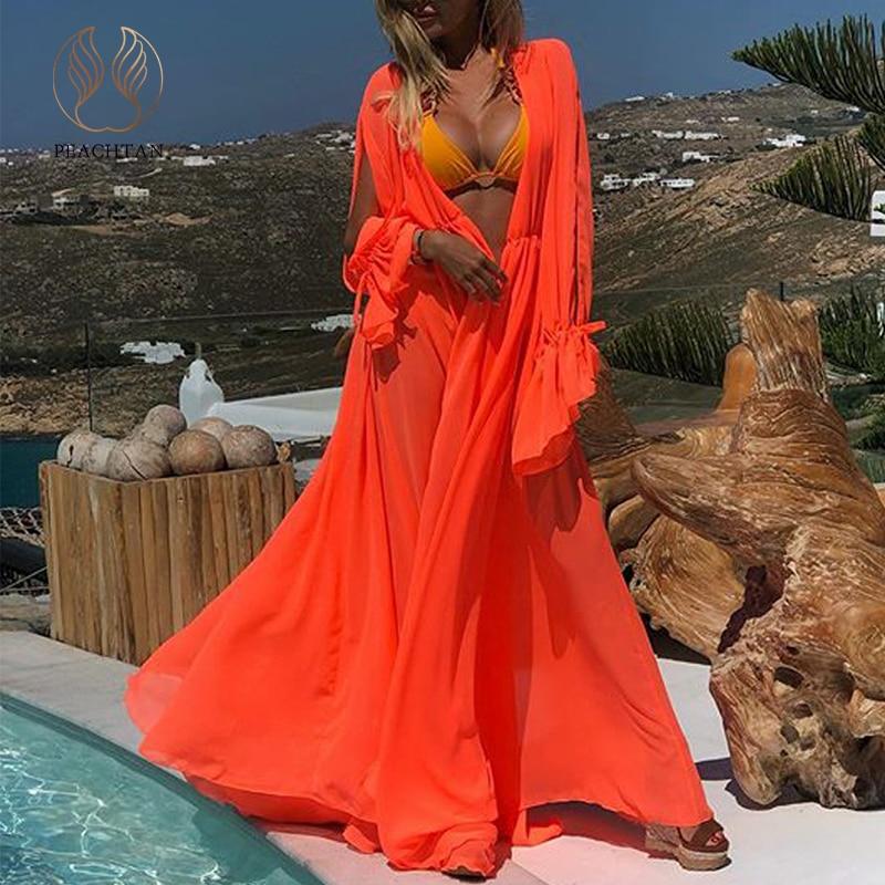 Peachtan Solid Orange Swimsuit Cover Ups Female 2020 Kimono Long Sleeve Beach Wear Dress Women Summer Bathing Suit Plus Size New