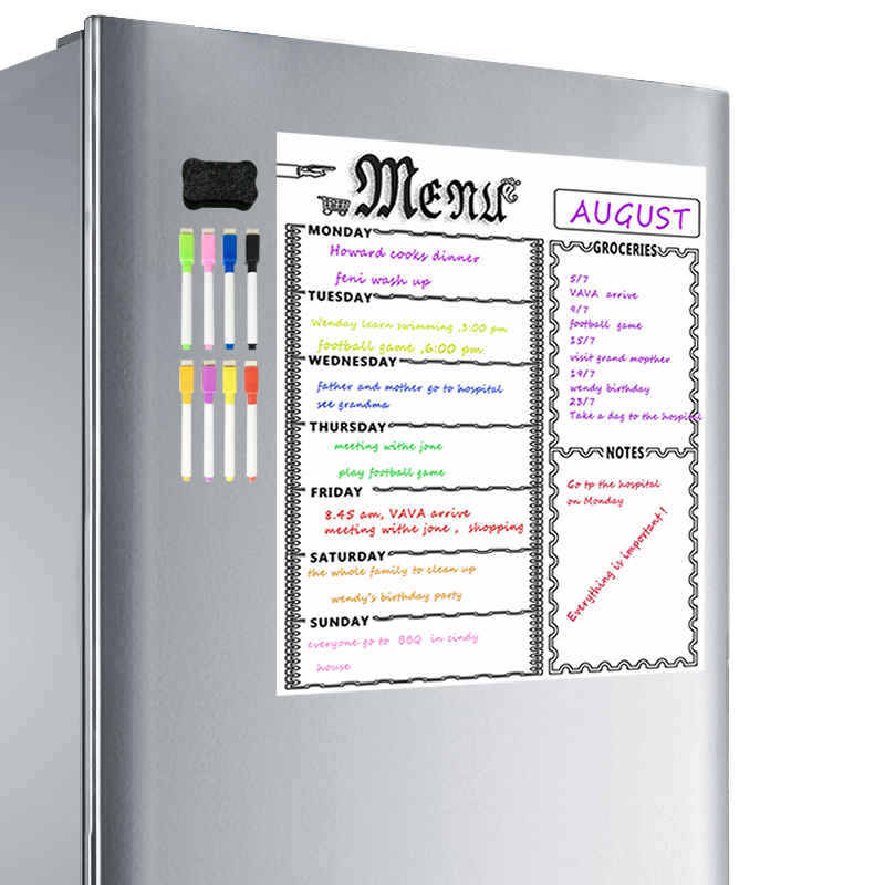 A3 Magnetic Whiteboard Sheet For Kitchen Fridge Multipurpose Fridge Weekly White Board Calendar For Menu Planning With 8 Pen(Whi