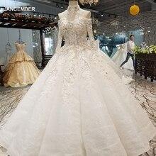 LS64448 fora do ombro manga longa saia do vestido de casamento da forma da curva com alta colar querida pavimento length платье со шлейфом