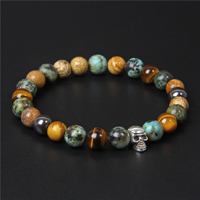 Skull Bracelets For Men Natural Tiger Eye Bracelet Homme Jewelry 8 mmPolished African Turquois Beads Bangle Silverplated Pulsera