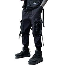 HOT Zipper Big Pockets Ribbons Hip Hop Men's Harem Ripped Sweatpants Joggers Trousers Male Fashion Punk Full Length Pencil Pants