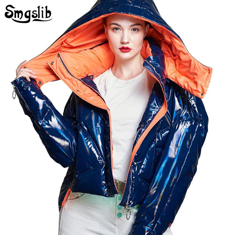 2019 Winter women's   down   jacket zipper duck   down   Hooded streetwear blue Bright side high street Parkas warm short pocket   coat