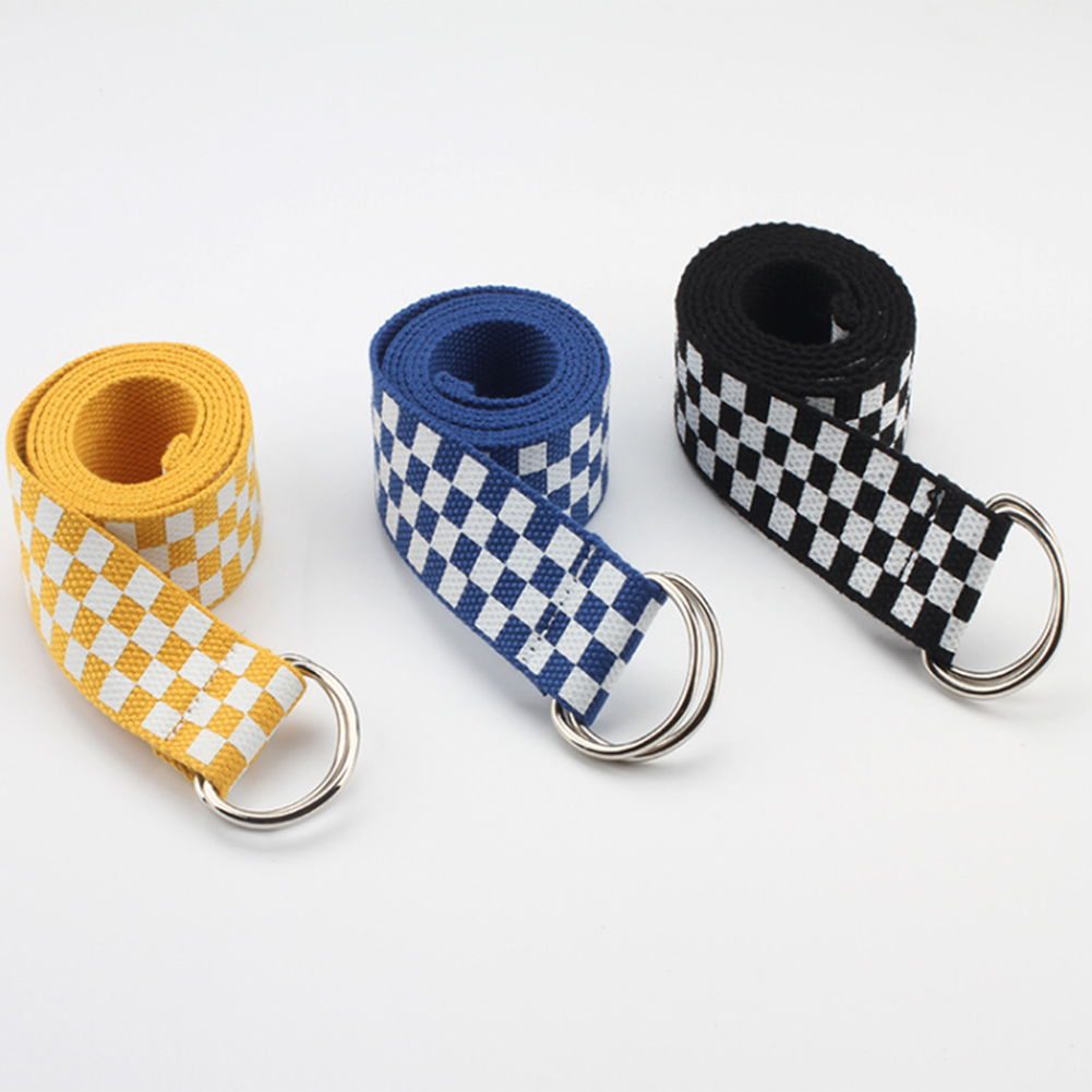 Women's Nylon D Ring Waistband Plaid Belt Canvas Checkerboard Belts Cummerbunds Casual Canvas Waist Belts