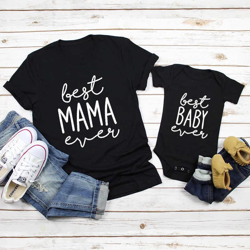 Dopasowane ubrania letnie koszulki dla mamy Tee i Baby Romper nadrukowane litery rodzina pasująca do rodziny