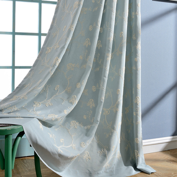 Modern Curtains for Living Room Bedroom Simple EuropeanStyle Artificial Cotton Embroidery Curtain Finished Product Customization 1969 feverish finished product 064