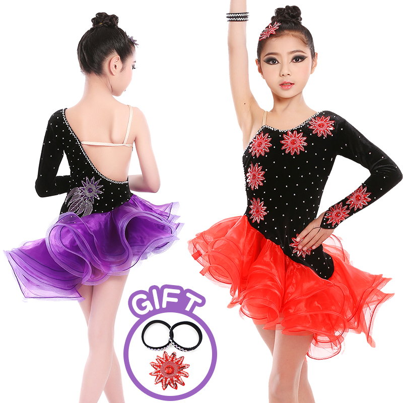 Strapped Black Latin Dress Girls Velvet Ballroom Latin Dance Wear Kids Cold Shoulder Vestido De Baile Latino For Sale