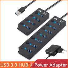 USB 3.0 High Speed Hub 4 / 7 Port USB 3.0 Hub Splitter On/Off Switch with US/EU Power Adapter for MacBook Laptop PC Accessories стоимость