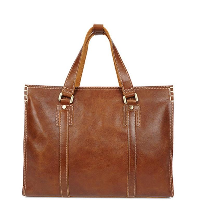 Men/'s Leather Laptop Genuine Messenger épaule Sac en cuir