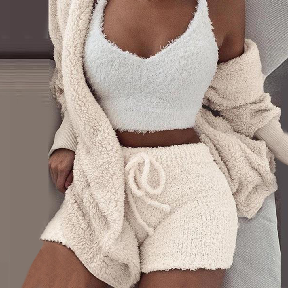 2020 Women Tracksuit Plush 3 Pieces Set Sweatpants Sweatshirts Sweatsuits Jacket Crop Top Shorts Suit Sports Suit Jogging Femme