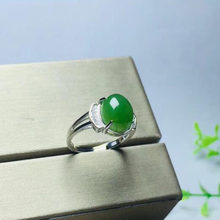 Beautiful 925 Sterling Silver Green HeTian Jade Inlay Jasper Design Ring Adjustable Women's Charm Gift Jewelry(China)
