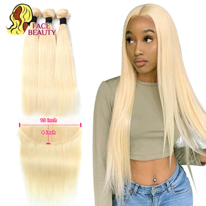 Facebeauty 613 пучок с 13x4 фронтальной бразильской блонд 2/3/4 пучка с застежкой Remy прямые человеческие волосы пучок с фронтальной