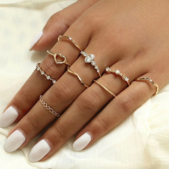 Vintage Gold Color Crystal  Star Moon Rings Set For Women Boho Knuckle Finger Ring Female Fashion Jewelry Accessories 2020 New 5