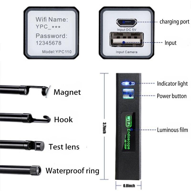 1200P беспроводной wifi эндоскоп камера USB бороскоп для Iphone Android IOS эндоскоп Мини водонепроницаемая камера 8 мм 2 м 5 м 10 м жесткий