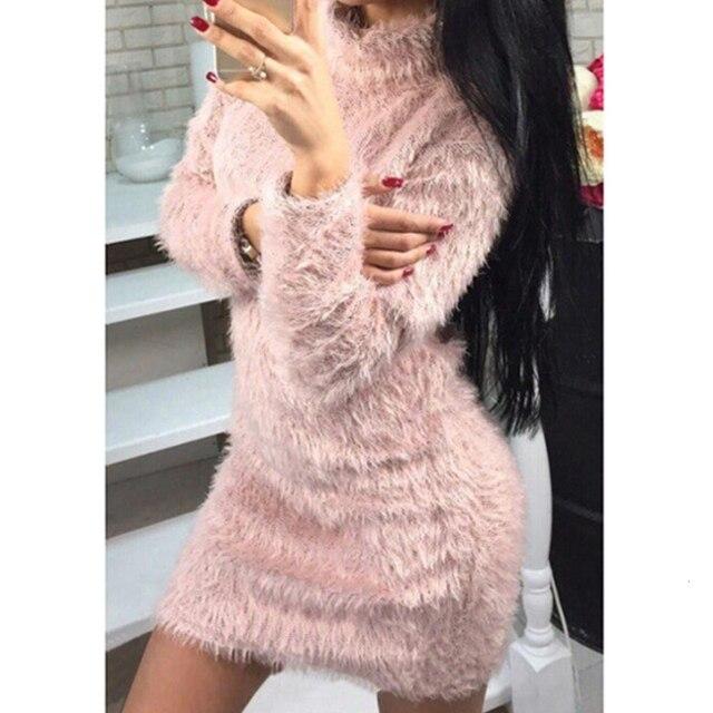 Gentillove Women Autumn Winter Long Sleeve Turtleneck Faux Fur Fluffy Bodycon Dress Sexy Party Club Night Sheath Mini Dress 2019 3