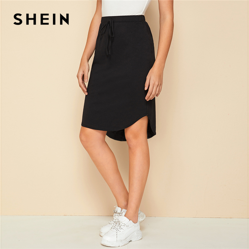 SHEIN Black Solid Drawstring Front High Low Hem Skirt Womens Bottoms 2019 Autumn Ladies Asymmetrical Casual Knee Lenth Skirts