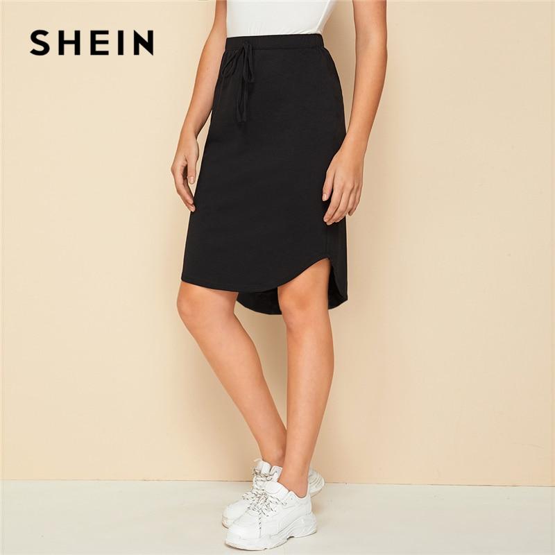 SHEIN Black Solid Drawstring Front High Low Hem Skirt Womens Bottoms 2019 Autumn Ladies Asymmetrical Casual Knee Lenth Skirts